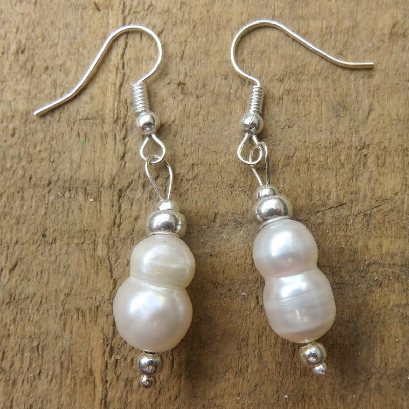 Freshwater Pearls with Silver-plated Earrings